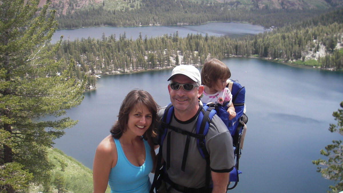 Family at a wilderness lake